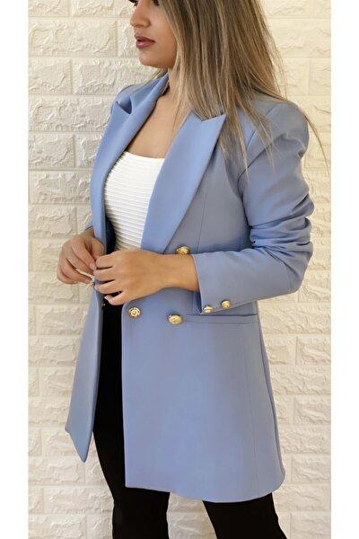 Kadın Bebe Mavisi Uzun Gold Düğmeli Blazer Ceket