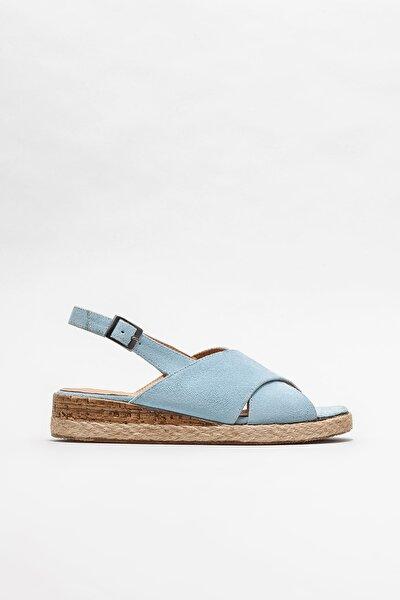 Kadın Mavi Deri Dolgu Topuklu Sandalet