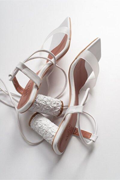 Kadin Beyaz Cılt Topuklu Sandalet