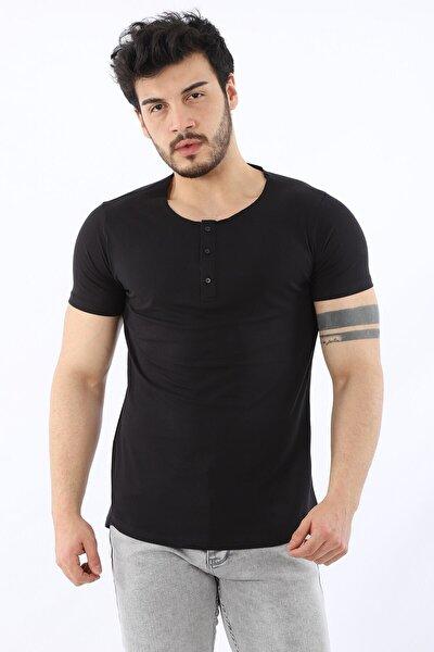 Erkek Yarım Pat Düğmeli Slim Fit Kısa Kollu Siyah T-shirt