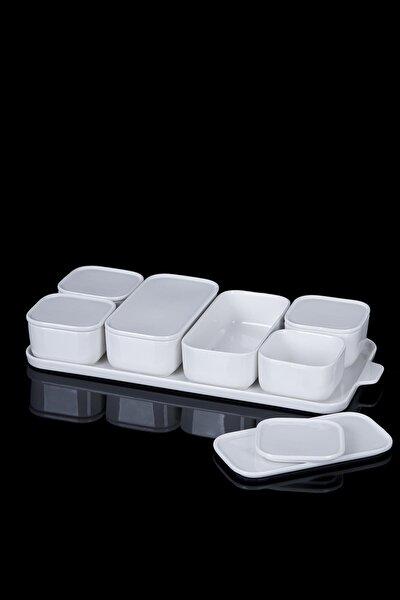 Beyaz 7'li Porselen Kapaklı Kahvaltılık