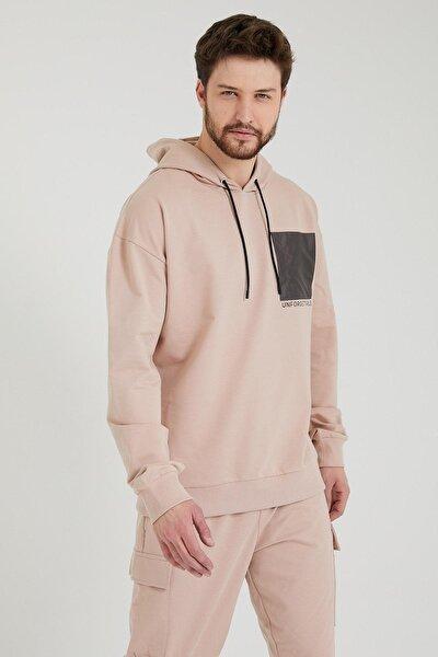 Erkek Pudra Oversize Kapüşonlu Sweatshirt