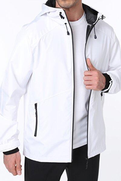 Erkek Beyaz Rüzgarlık/Yağmurluk Outdoor Omuz Detaylı Mevsimlik Spor Ceket