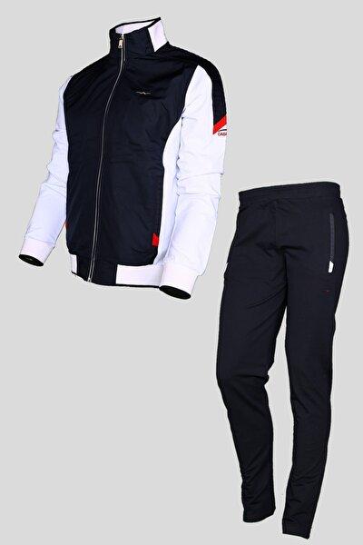 Eşofman Takımı Paraşüt Kumaş Detaylı Beyaz