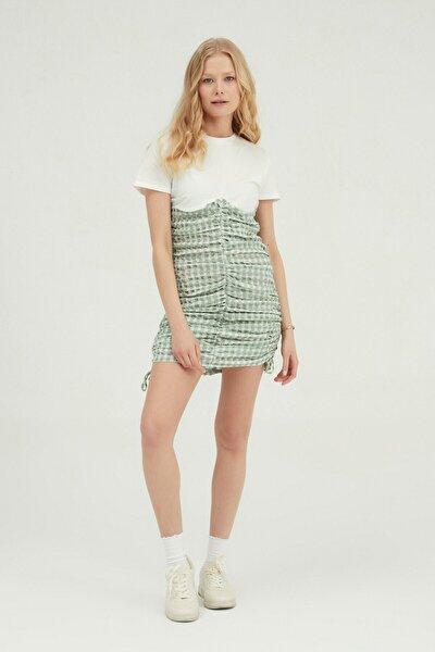 Desenli Gipeli Mini Elbise