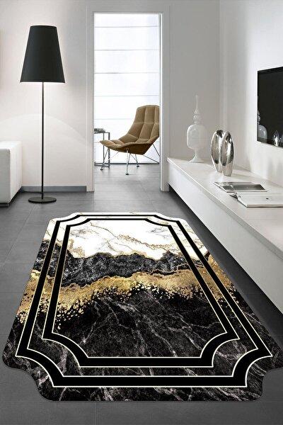 Siyah Dekoratif Yıkanabilir Kaymaz Tabanlı Lazer Kesim Halı Kzd-269-100x200