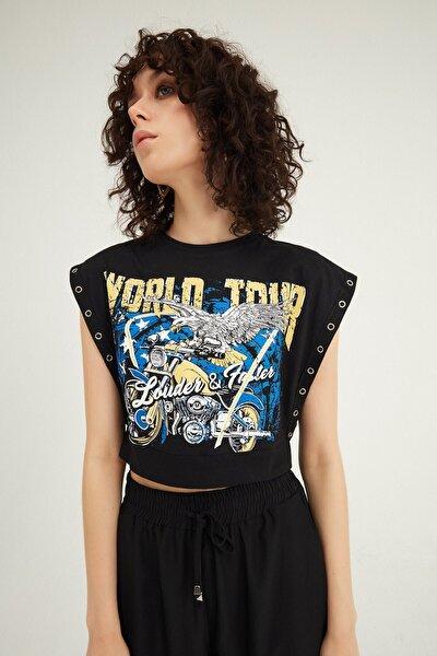 Kadın Siyah Baskılı Kolsuz Crop Tişört