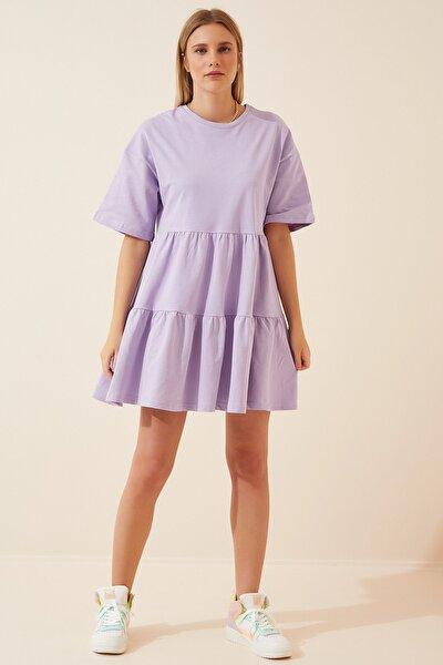 Kadın Lila %100 Pamuk Günlük Mini Kloş Elbise FN02707