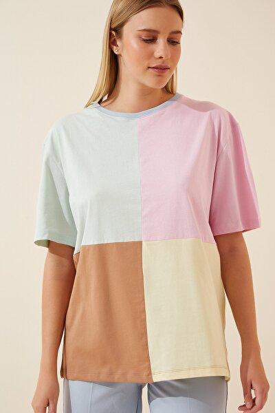 Kadın Pembe Blok Renkli Pamuklu T-Shirt US00539