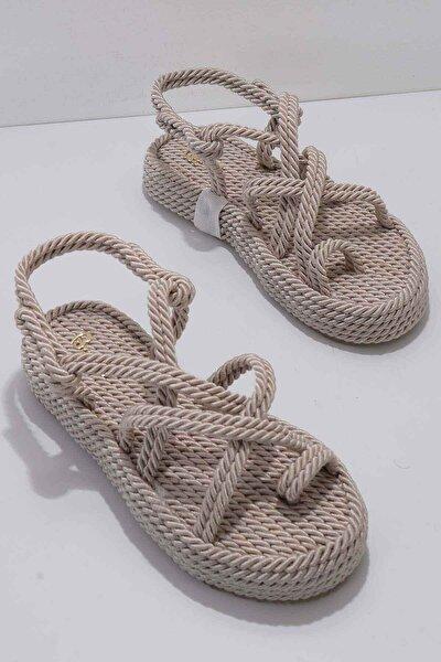 Krem Kadın Sandalet K05823011176