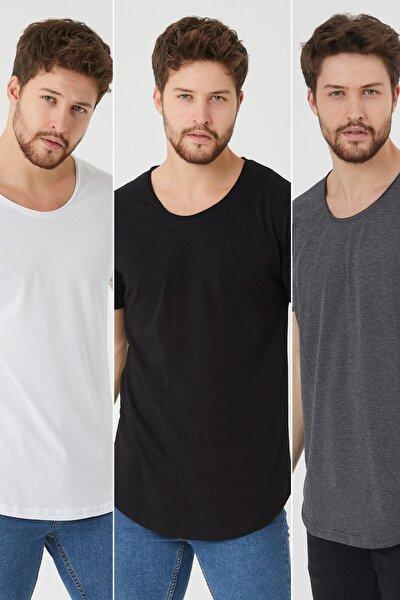 Erkek Çok Renkli 3'lü Pis Yaka Salaş T-shirt-uctcps001r02