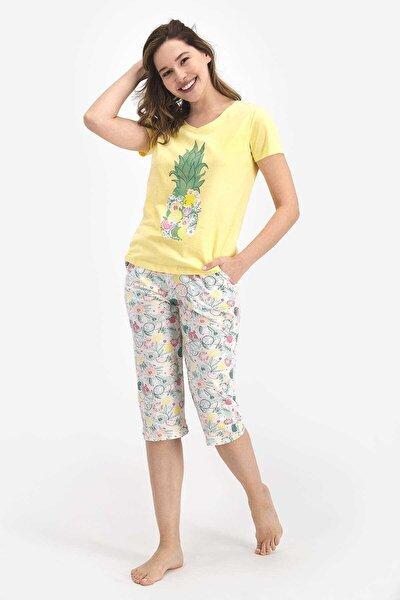 Kadın Sarı Ananas Desenli Kapri Pijama Takımı
