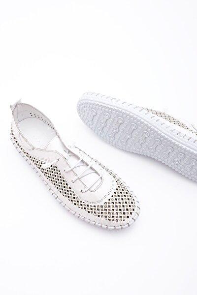 Kadın Hakiki Deri Comfort Ayakkabı Icrosbeyaz