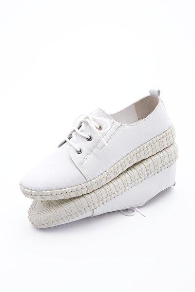 Kadın Hakiki Deri Comfort Ayakkabı Resabeyaz