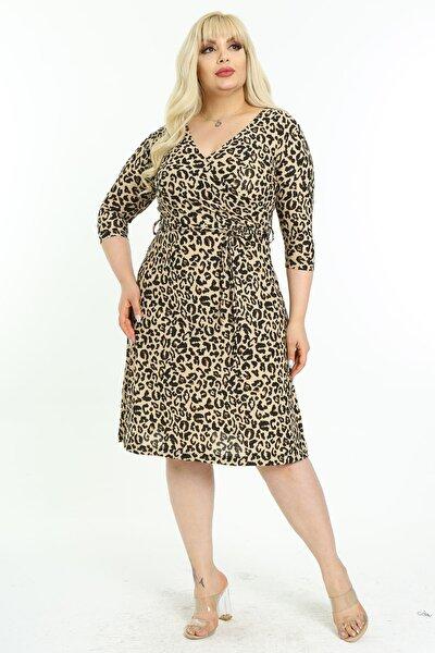 Kadın Büyük Beden  Tiger Desenli Kruvaze Yaka Elbise