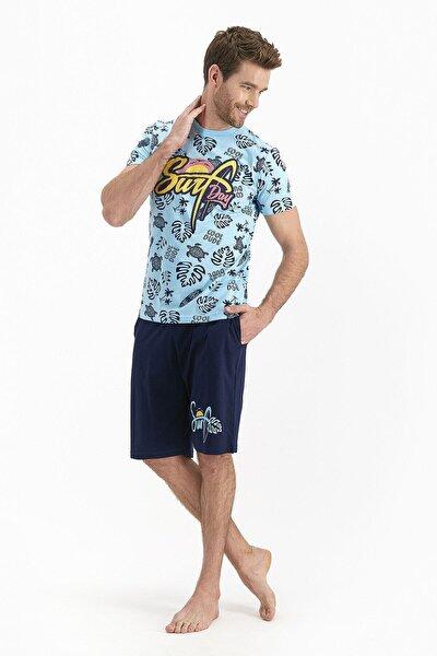 Erkek Mavi Surf Day Aqua Bermuda Takım