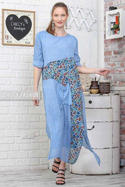 Kadın Mavi Sıfır Yaka Kolları Ayarlı Çiçekli Bloklu Tek Cepli Yıkamalı Elbise C10160000EL95075