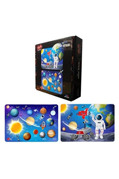 Uzay Temalı Çocuk Puzzle 30+30 Toplam 60 Parça Dayanıklı Puzzle