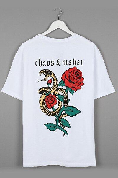 Maker & Chaos Sırt Baskılı Beyaz Oversize Unisex Tshirt