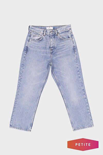Kadın Mavi Yüksek Bel Straight Fit Patı Düğmeli Jean Pantolon