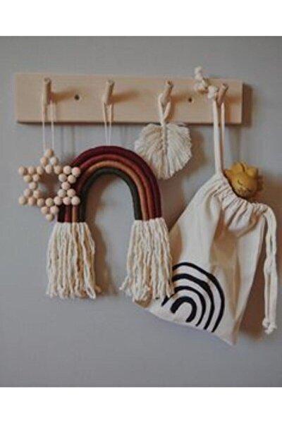 Ahşap Modern Duvar Askılık Montessori Askılık