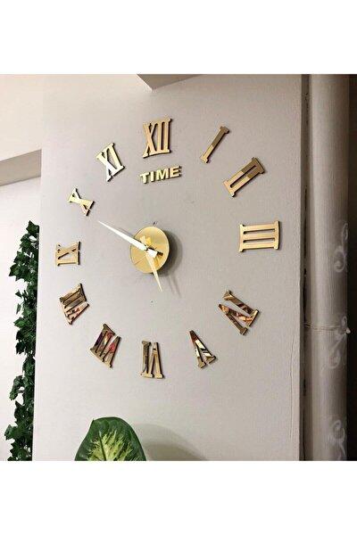 Metal Göbek Duvar Saati Büyük 3d Romen Rakamlı Strrg1001 Roma Gold