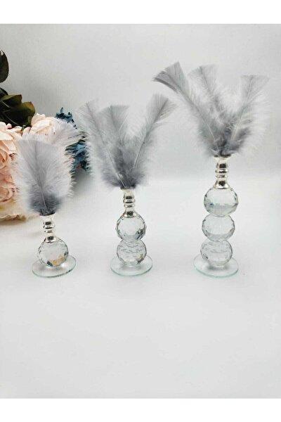 Üç Adet Gri Tüylü Kristal Cam Dekor Ürünü