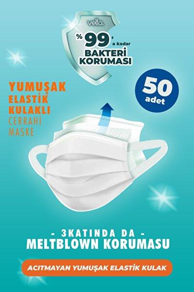 Meltblown Filtreli Elastik Kulaklı Beyaz Cerrahi Maske 50 Adet