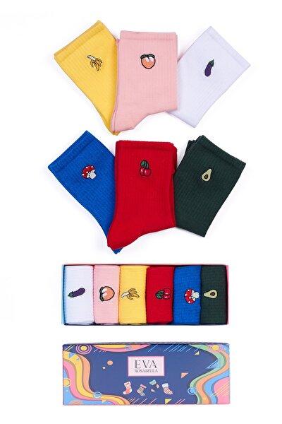 Unisex Meyve Desenli Nakışlı Işlemeli Renkli Soket Çorap Kutusu 6'lı