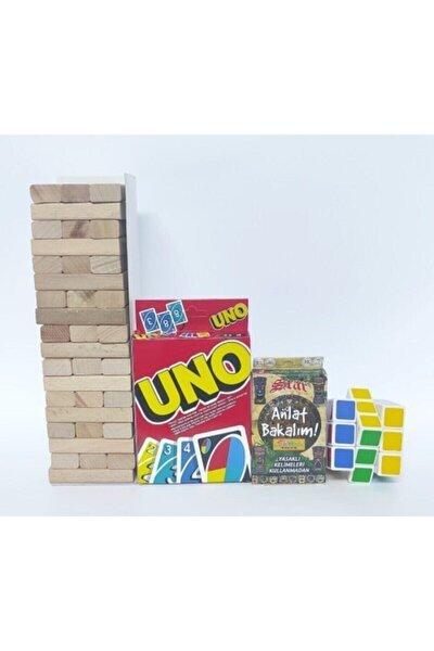 54 Parça Denge Oyunu 108 Kartlı Uno 55 Kartlı Anlat Bakalım Kartları Rubik Zeka Küpü 4'lü Set