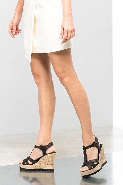 Hakiki Deri Siyah Kadın Dolgu Topuk Ayakkabı 120120507014
