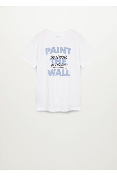 Erkek Çocuk Beyaz Organik Pamuklu Desenli Tişört 87025132