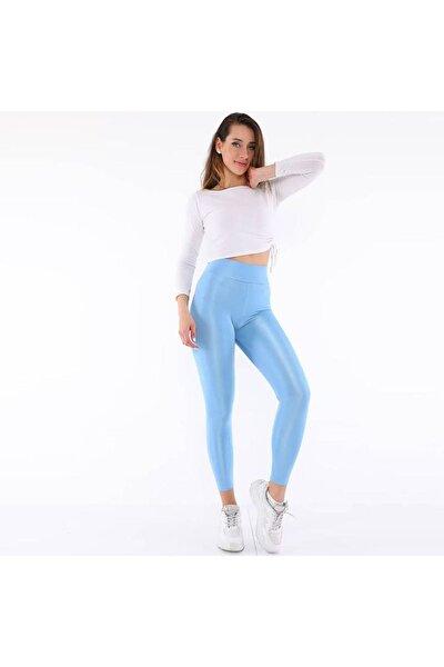 Kadın Mavi Parlak Disco Tayt
