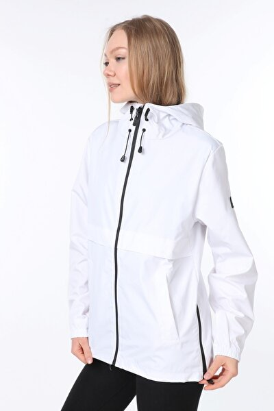 Kadın Rüzgarlık/yağmurluk Yırtmaç Detaylı Mevsimlik Beyaz Spor Ceket