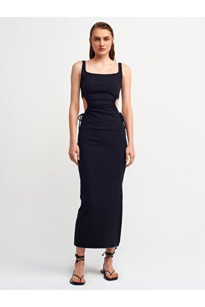 Kadın Siyah Pencere Detaylı Uzun Elbise