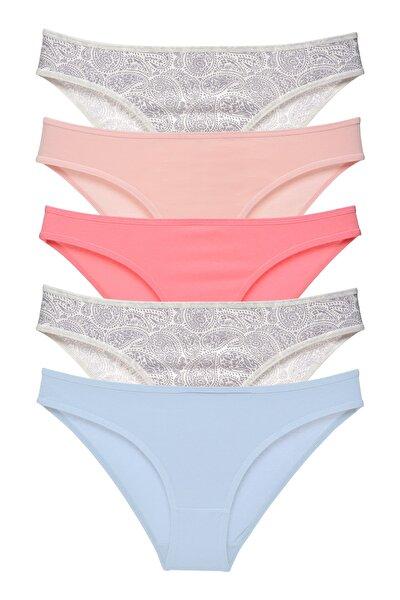 Kadın Basic Külot Karışık Renkler 5 Li Paket 1015