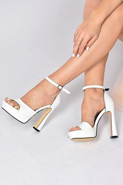 Kadın Beyaz Platform Kalın Topuklu Ayakkabı K404580109