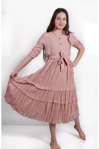 Kız ÇocukPembe Eteği Fırfırlı Kuşaklı  Elbise