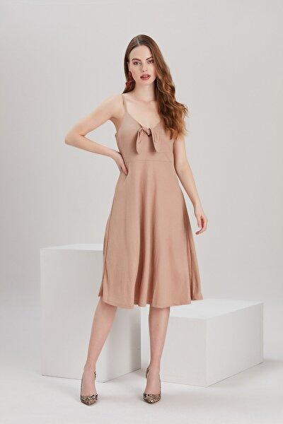 Kadın Bej Askılı Uzun Elbise YL-EL99621