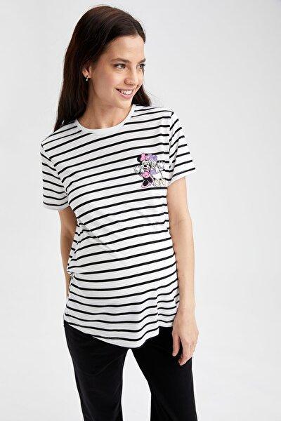 Kadın Beyaz Çizgili Mickey Mouse Lisanslı Bisiklet Yaka Hamile T-Shirt