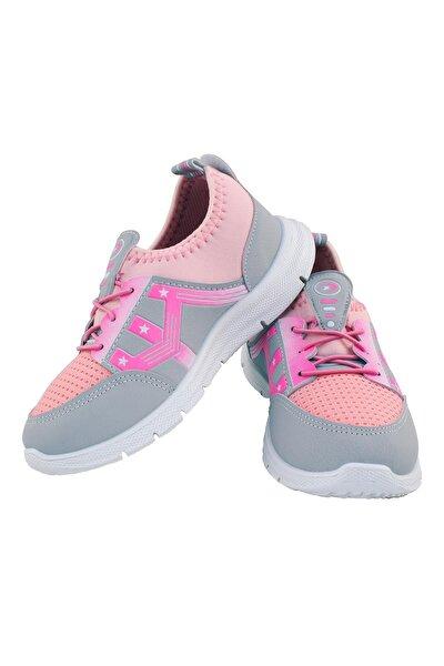 Kız Çocuk Günlük Spor Ayakkabı Sneaker Pembe Gri