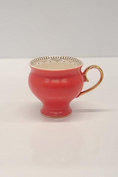 Porselen Kupa - Marlon Mat Renkli Altın Kulplu Porselen Kupa
