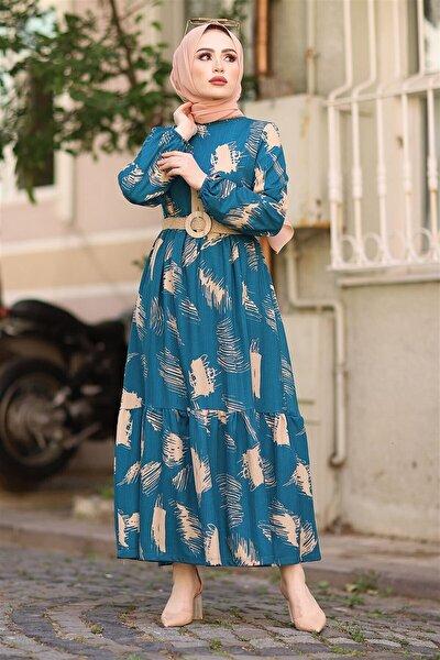 Fırça Desen Kemerli Elbise - Indigo
