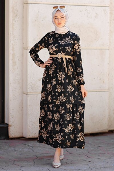 Hasır Kemerli Çiçek Desen Elbise - Siyah