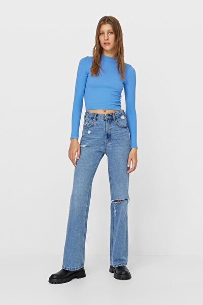 Kadın Koyu Mavi İspanyol Paça Vintage Jean 04885724