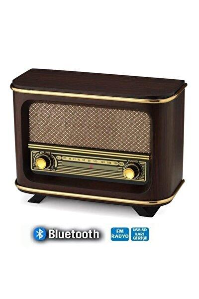 Bluetoothlu Usb Aux Girişli Nostaljik Ahşap Radyo Istanbul Modeli Adaptör Pil