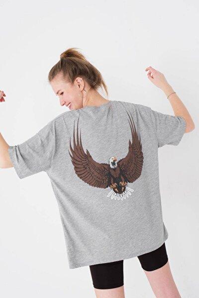 Kadın Gri Melanj Baskılı Oversize T-Shirt P9583 - K8 Adx-0000024289