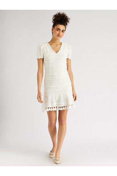 Kadın Ekru Püskül Detaylı Nakışlı Mini Elbise 9109-0127