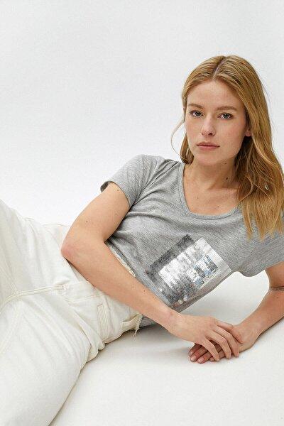 Kadın Gri T-Shirt 1YAK13190GK