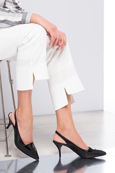 Hakiki Deri Siyah Kadın Topuklu Ayakkabı 120120038011